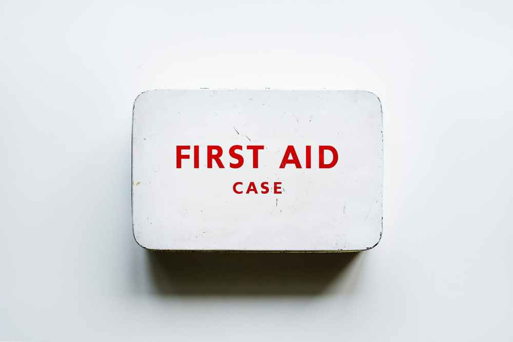first aid case on wall